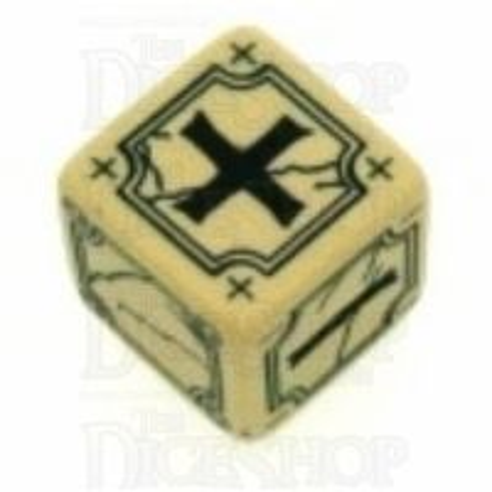 Q Workshop Ancient Ivory & Black Fudge Fate D6 Dice