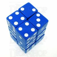 Koplow Opaque Blue & White Square Cornered 12 x D6 Dice Set