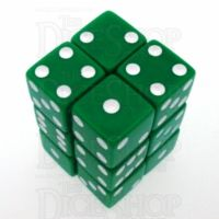 Koplow Opaque Green & White Square Cornered 12 x D6 Dice Set