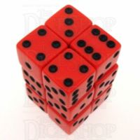 Koplow Opaque Red & Black Square Cornered 12 x D6 Dice Set
