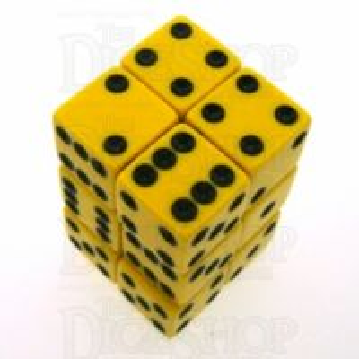 Koplow Opaque Yellow & Black Square Cornered 12 x D6 Dice Set