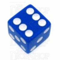 Koplow Opaque Blue & White Square Cornered 16mm D6 Spot Dice