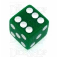 Koplow Opaque Green & White Square Cornered 16mm D6 Spot Dice