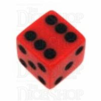 Koplow Opaque Red & Black Square Cornered 16mm D6 Spot Dice