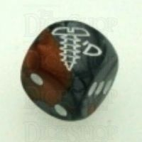 Chessex Gemini Copper & Steel SCREWED Logo D6 Spot Dice