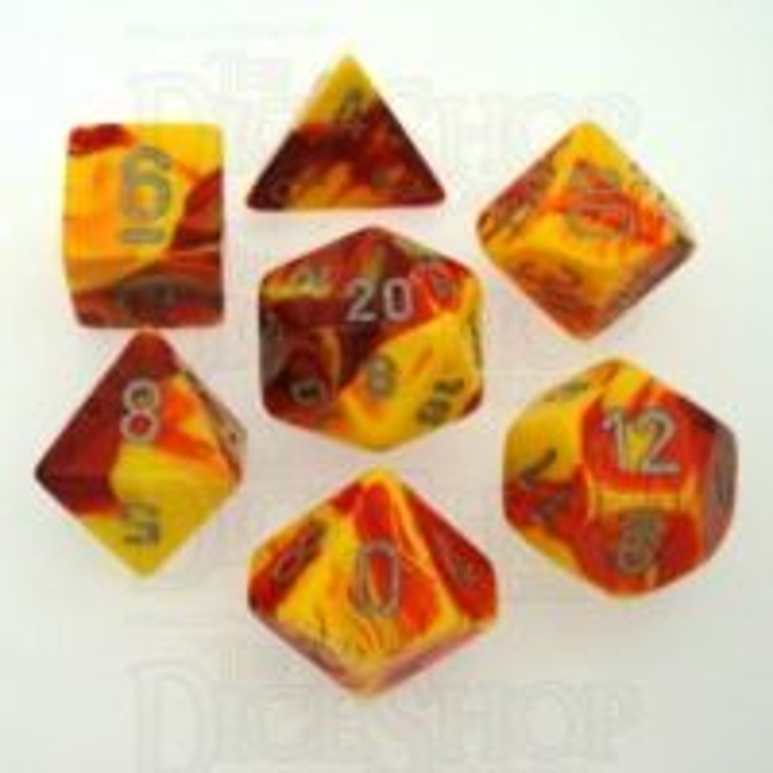 Chessex Gemini Red & Yellow 7 Dice Polyset