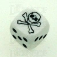 Koplow Opaque White Pirate Skull & Crossbones Logo D6 Spot Dice