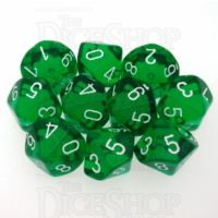 Chessex Translucent Green & White 10 x D10 Dice Set