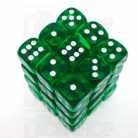 Chessex Translucent Green & White 36 x D6 Dice Set