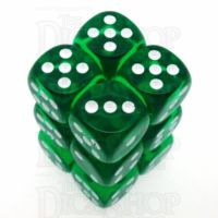 Chessex Translucent Green & White 12 x D6 Dice Set