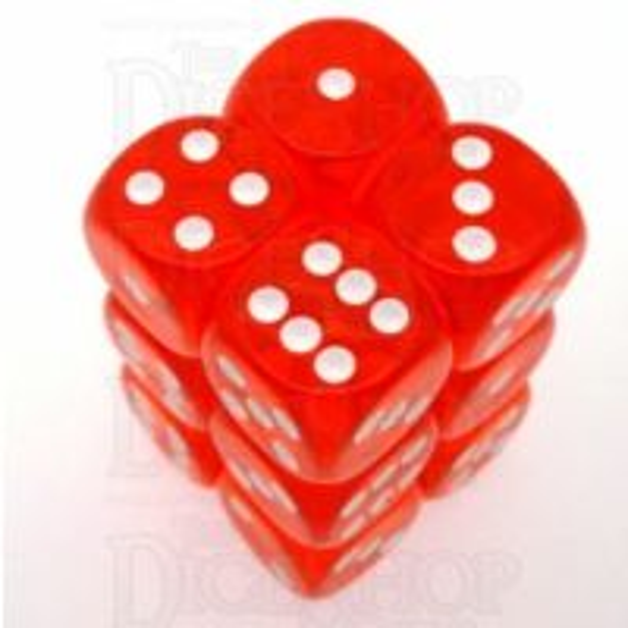 Chessex Translucent Orange & White 12 x D6 Dice Set