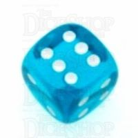 Chessex Translucent Teal & White 16mm D6 Spot Dice