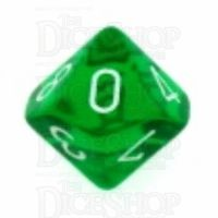 Chessex Translucent Green & White D10 Dice