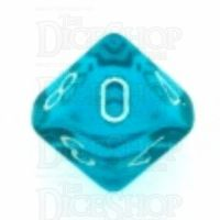 Chessex Translucent Teal & White D10 Dice