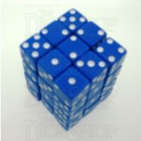 Koplow Opaque Blue & White Square Cornered 36 x D6 Dice Set