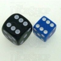 Koplow Opaque Blue & White Square Cornered 12mm D6 Spot Dice