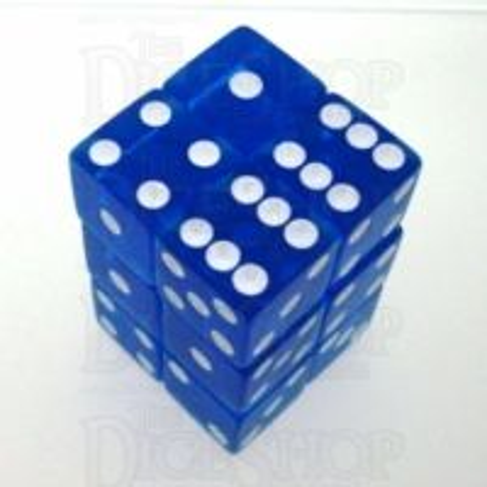 Koplow Transparent Blue Square Cornered 12 x D6 Dice Set
