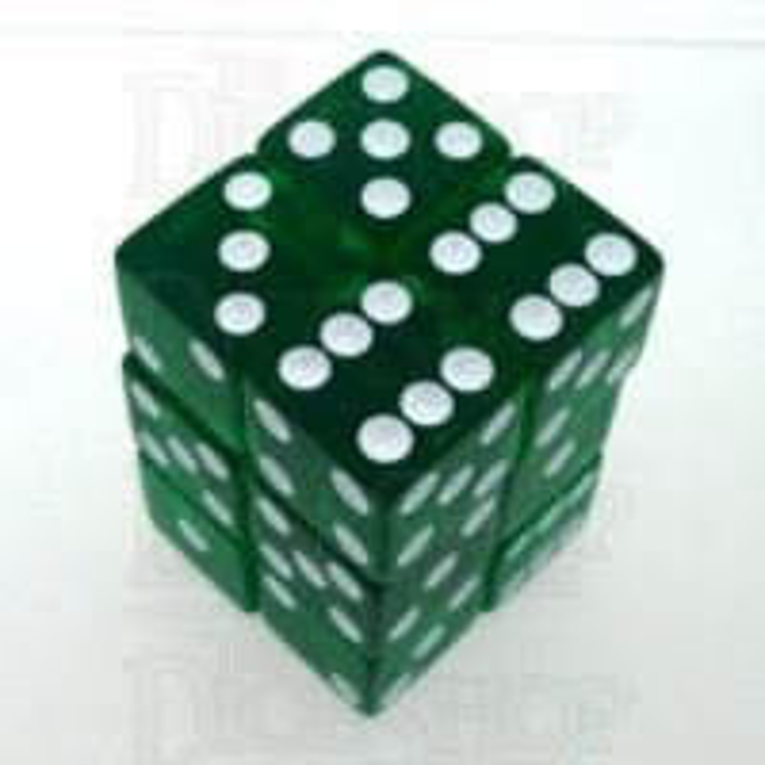 Koplow Transparent Green Square Cornered 12 x D6 Dice Set