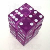 Koplow Transparent Orchid Square Cornered 12 x D6 Dice Set