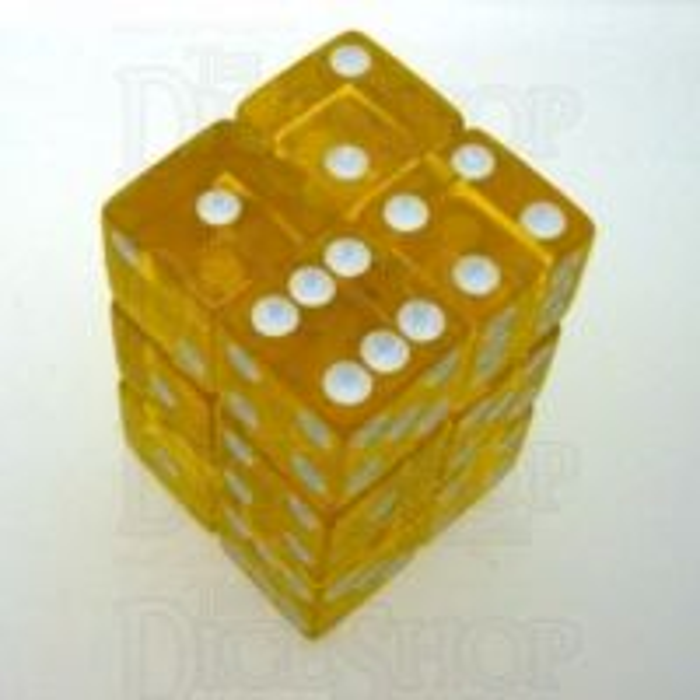 Koplow Transparent Yellow Square Cornered 12 x D6 Dice Set