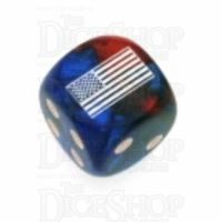 Chessex Gemini Blue & Red WWII USA Flag Logo D6 Spot Dice