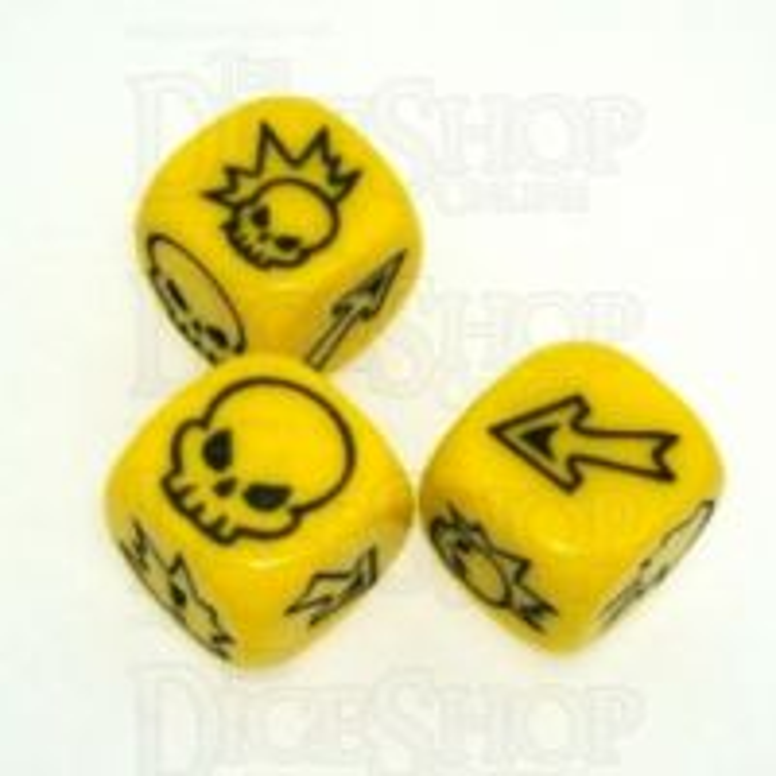 Impact Opaque Yellow & Black 3 x D6 Block Dice Set