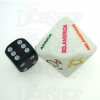 Koplow Opaque White Continents Dice JUMBO D14 Dice