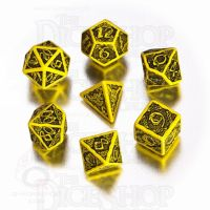 Q Workshop Celtic 3D Yellow & Black 7 Dice Polyset