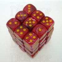 Chessex Vortex Red & Yellow 36 x D6 Dice Set - Discontinued