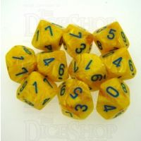 Chessex Vortex Yellow & Blue 10 x D10 Dice Set - Discontinued