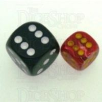 Chessex Vortex Red & Yellow 12mm D6 Spot Dice - Discontinued