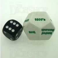 Koplow White & Green Place Value 1's to 100K JUMBO 28mm D12 Dice