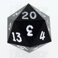 GameScience Opaque Coal Black & White Ink D20 Dice
