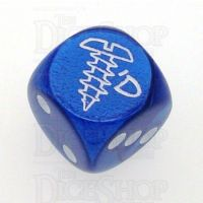 Chessex Gemini Blue SCREWED Logo D6 Spot Dice