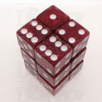 Koplow Glitter Red Square Cornered 12 x D6 Dice Set
