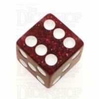 Koplow Glitter Red Square Cornered 16mm D6 Spot Dice