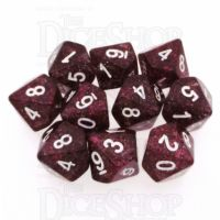 Koplow Glitter Red 10 x D10 Dice Set