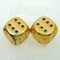 Chessex Metal Plated Gold 2 x D6 Spot Dice Set