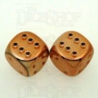 Chessex Metal Plated Copper 2 x D6 Spot Dice Set
