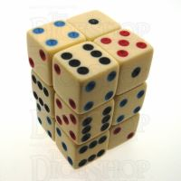 Koplow Michigan Red Eye Ivory & Multi Colour Square Corner 12 x D6 Dice Set