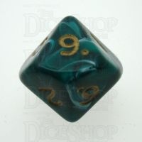 D&G Marble Green & White D10 Dice