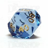 GameScience Gem Ice Blue Moonstone & Gold Ink Percentile Dice