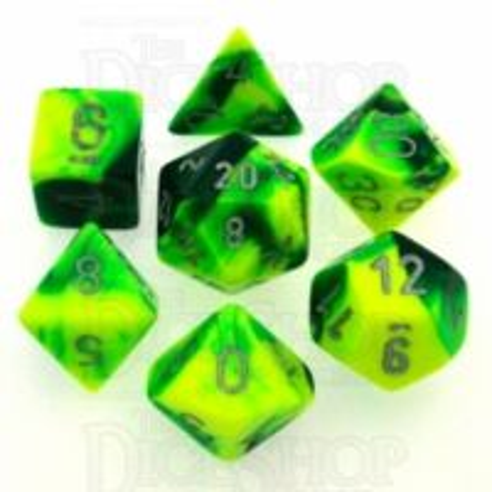 Chessex Gemini Green & Yellow 7 Dice Polyset