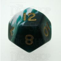 D&G Marble Green & White D12 Dice
