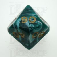 D&G Marble Green & White Percentile Dice