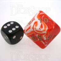 D&G Marble Red & White JUMBO 34mm Percentile Dice