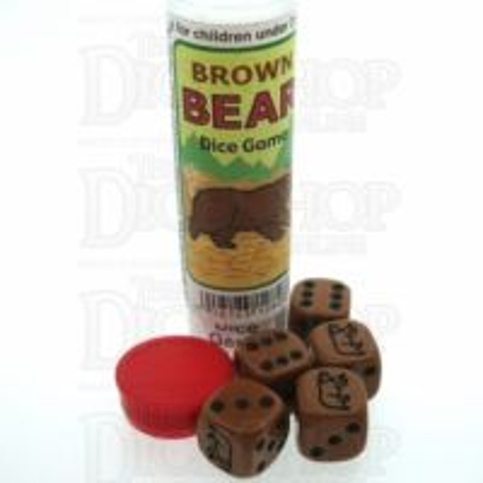 Koplow Brown Bear 5 x D6 Spot Dice Game