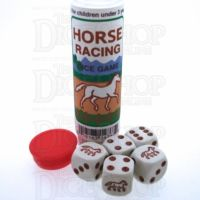 Koplow White & Brown Horse Racing 5 x D6 Spot Dice Game