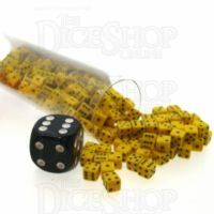 Koplow Opaque Yellow & Black MINI 5mm 200 x D6 Spot Dice Set