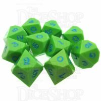 LTD EDITION GameScience Opaque Lime & Blue Ink 10 x D10 Dice Set